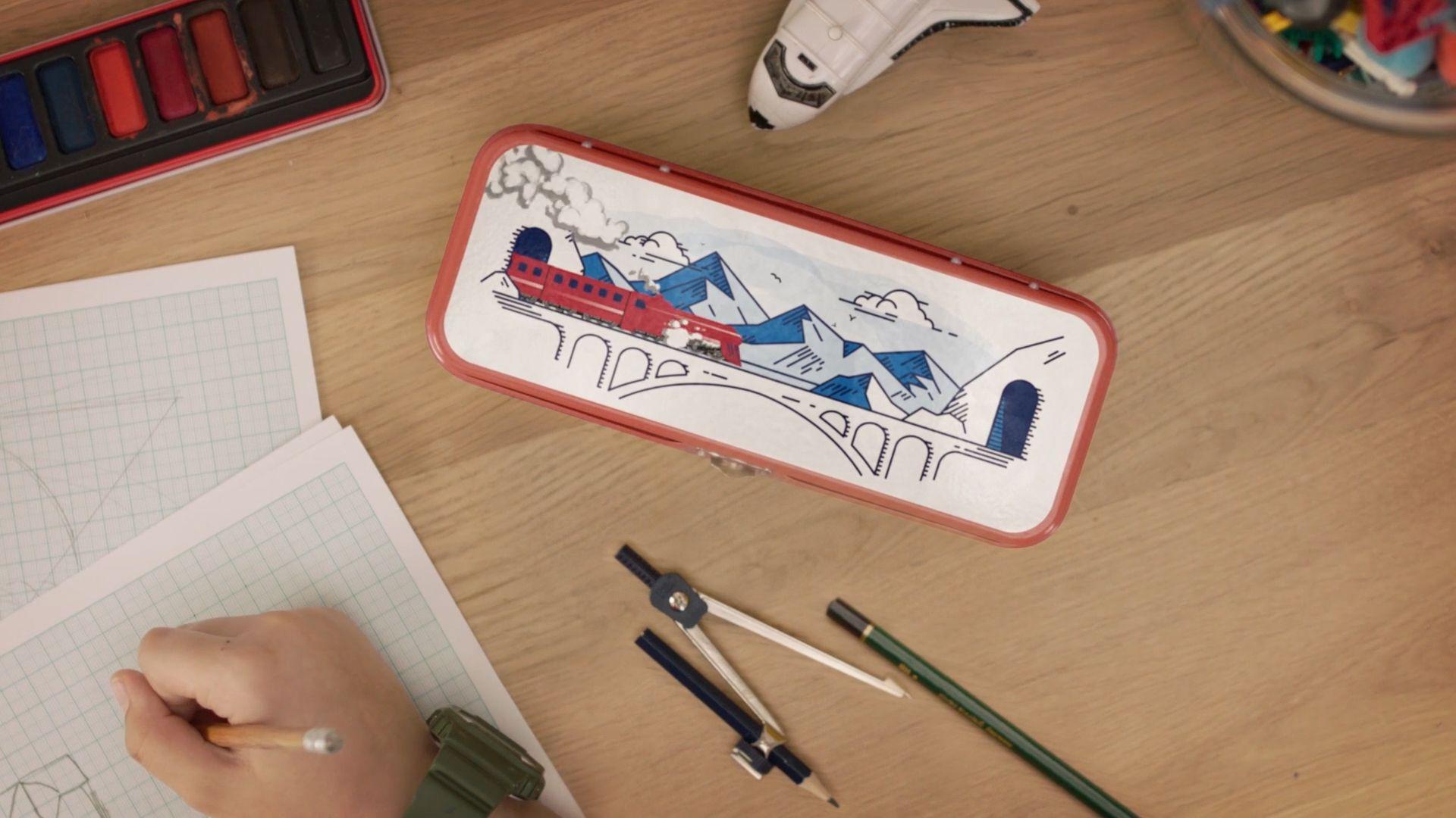 Illustration of train on pencil case