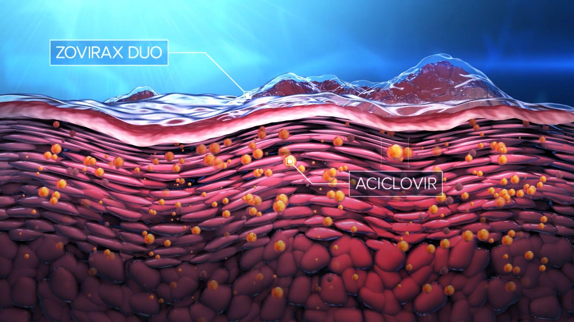 3D animation of aciclovir entering skin cells