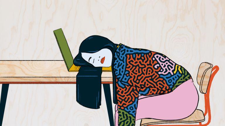 illustration of girl asleep at keyboard