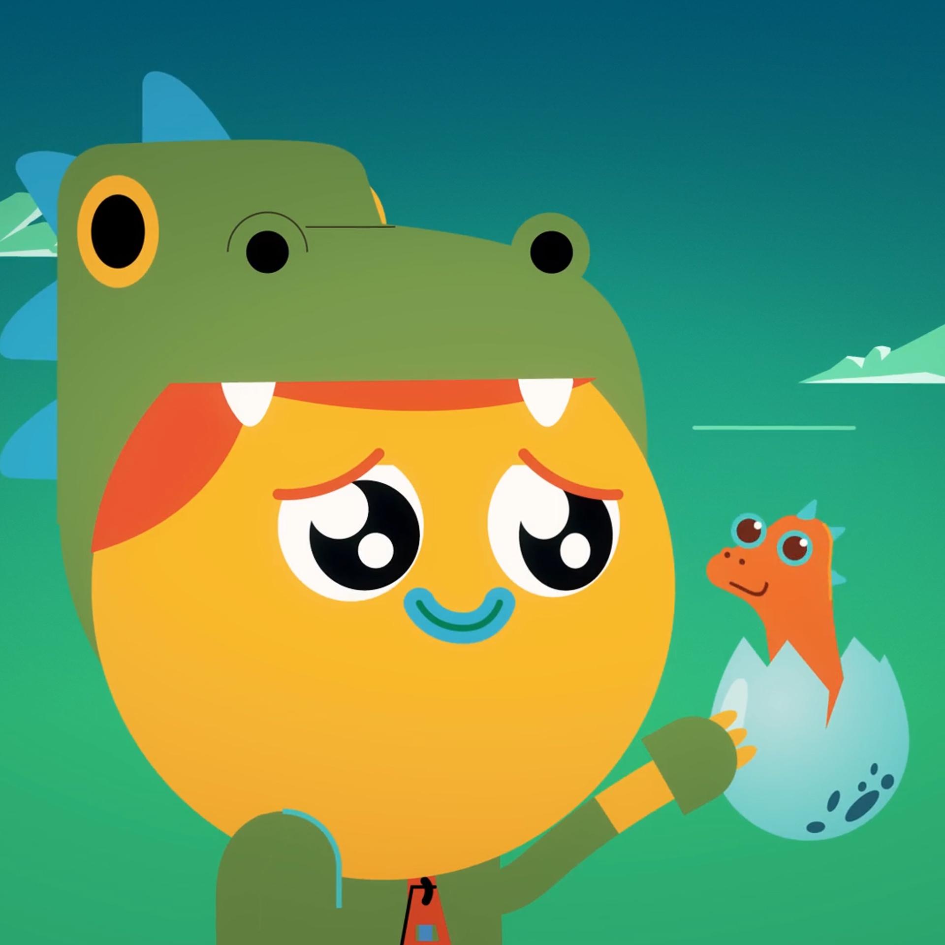 Illustration of boy looking at cute baby dinosaur