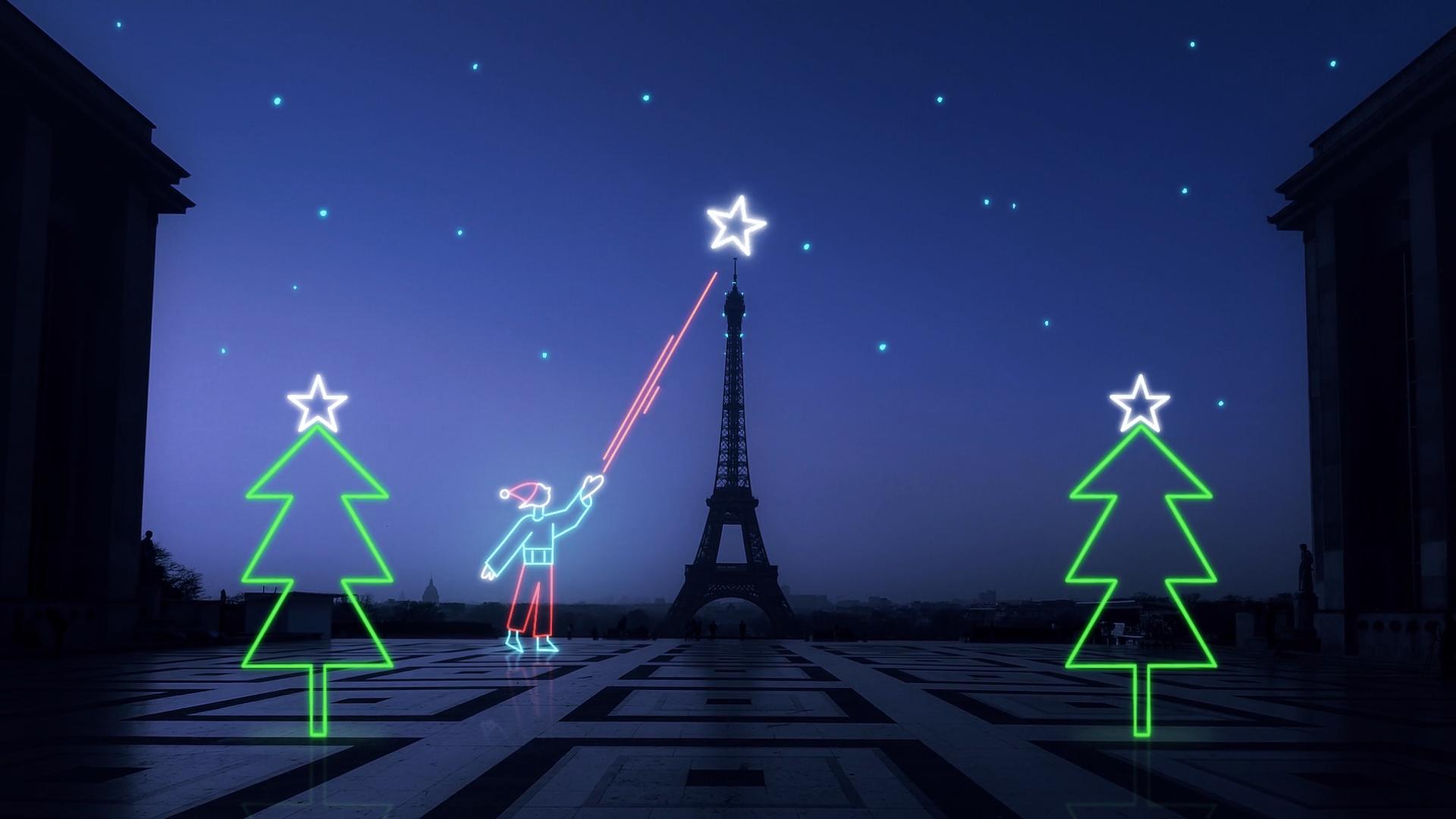 Illustration of neon child near Eiffel Tower