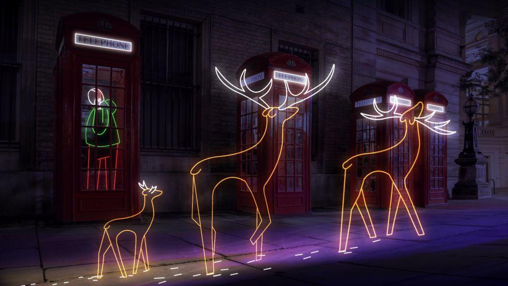 Illusration of neon reindeers in london street