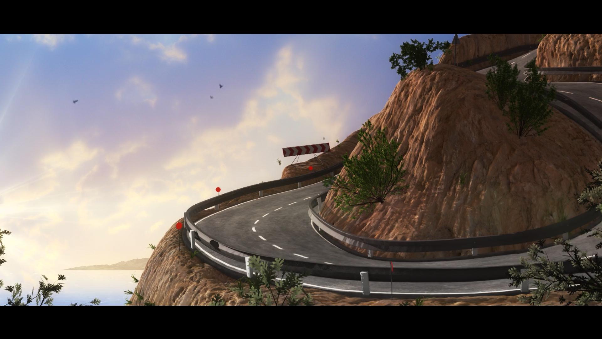 3D still of cliff side road
