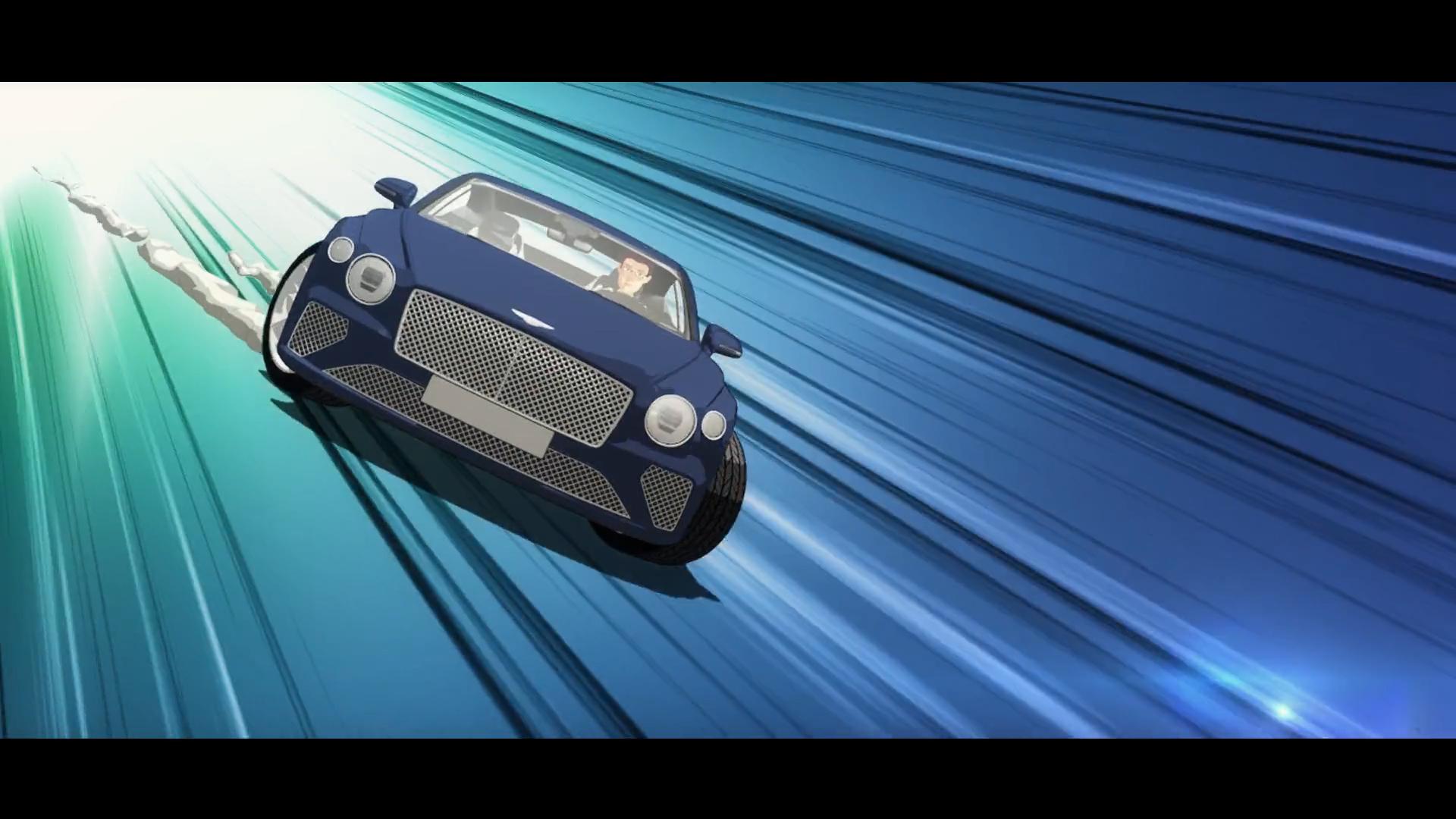 3D still of car speeding down road
