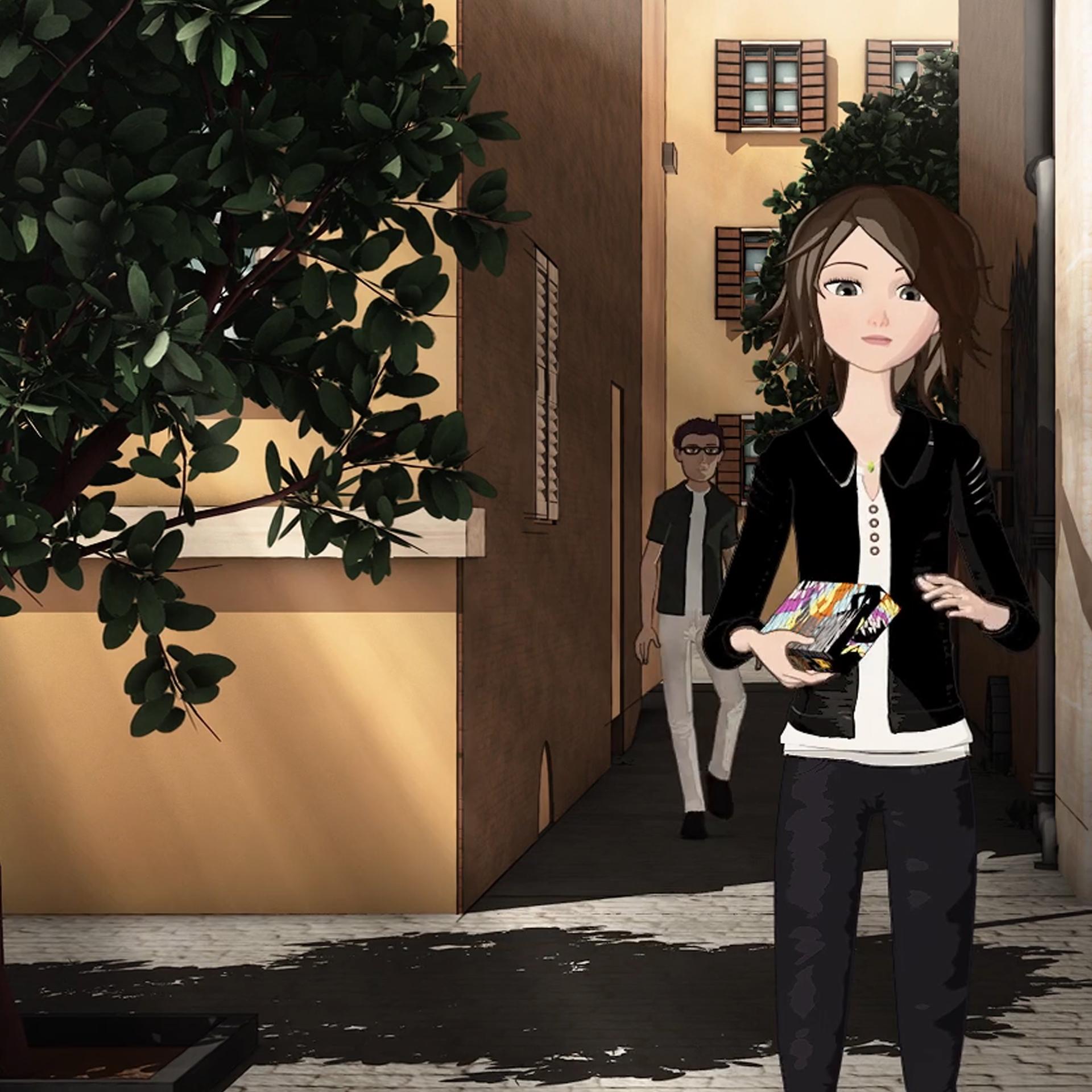 3D still of woman in alleyway